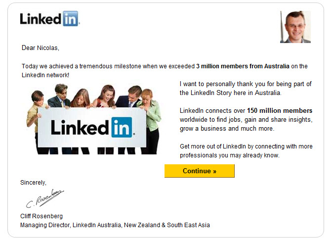 3 million members for Linkedin Australia!
